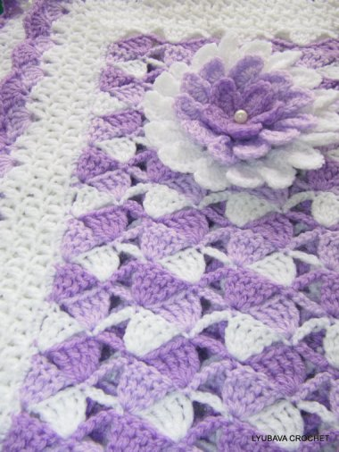 Beautiful Lilac Baby Blanket With Flower