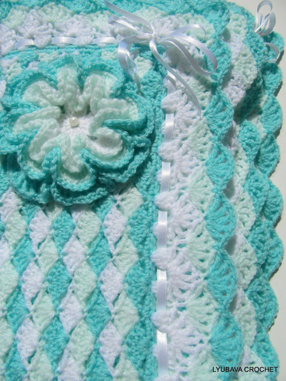 """Baby Blanket Pattern """"Turquoise Sea Shell"""" With Flower"""