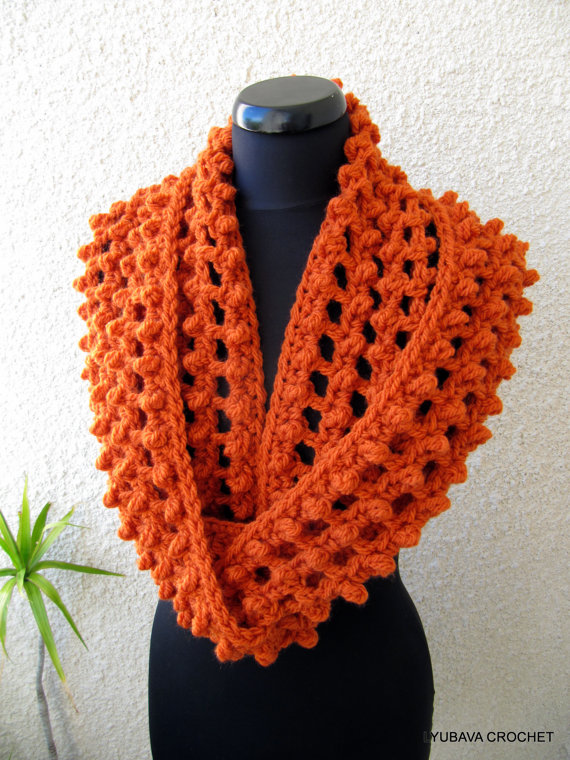 Chunky Crochet Scarf Pattern Infinity Orange LYUBAVA CROCHET Custom Chunky Infinity Scarf Crochet Pattern