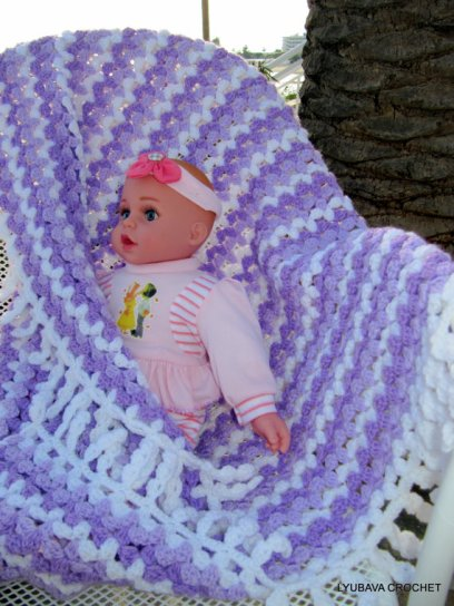 Lilac Mosaic Baby Blanket With Fringe
