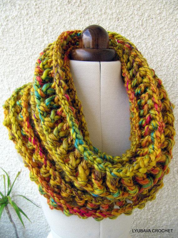 Chunky Crochet Mustard Cowl