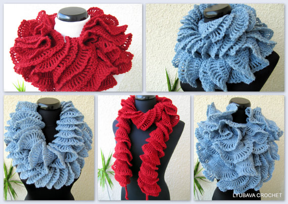 Unique Design Double Ruffle Crochet Scarf