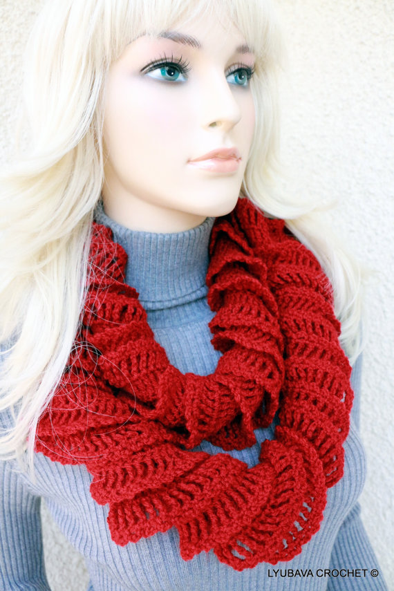 Crochet Red Ruffle Scarf