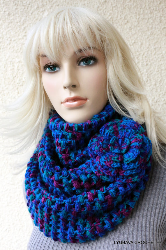 New Crochet Pattern Puff Stitch Scarf With Flower