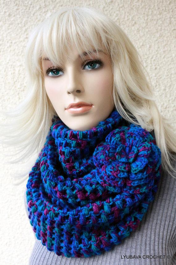 New Crochet Pattern Puff Stitch Scarf With Flower