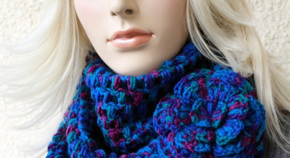 New Crochet Pattern Puff Stitch Scarf With Flower Lyubava Crochet