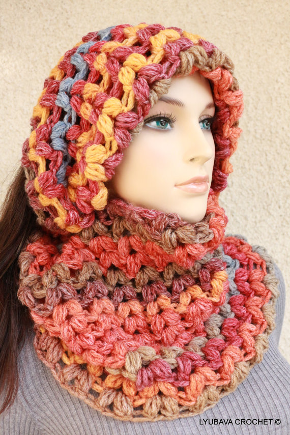 Chunky Crochet Puff Stitch Infinity Scarf