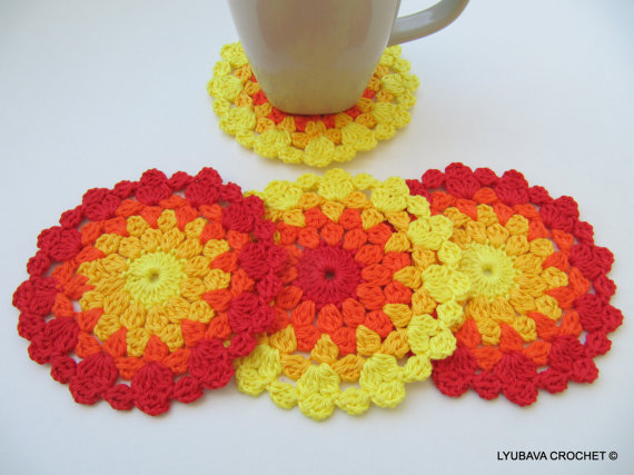 Colourful Crochet Coasters Crochet Pattern INSTANT DOWNLOAD