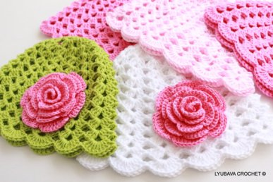 baby crochet hat rose flower pattern