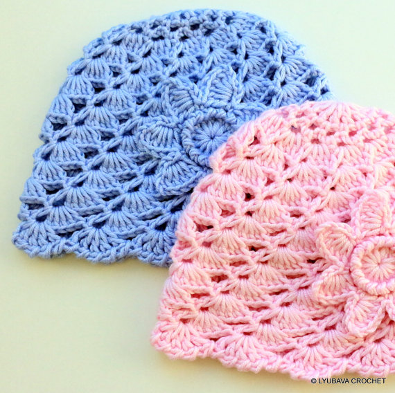Crochet Patterns Baby Hats With Flowers : CROCHET BABY HAT WITH FLOWER CROCHET PATTERN ? LYUBAVA CROCHET