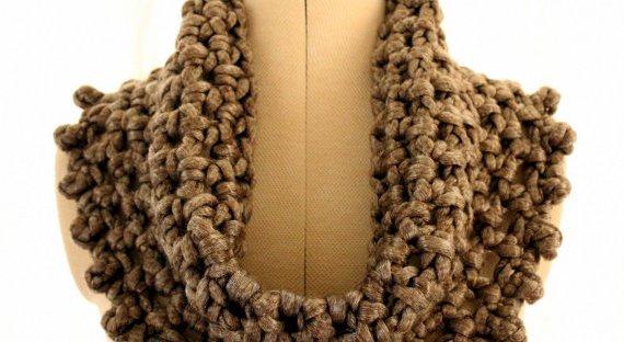 Crochet Pattern Chunky Cowl Metallic Gray Lyubava Crochet